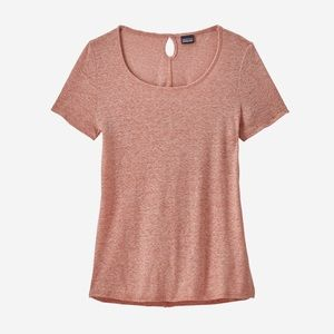 Patagonia Linen Mount Airy Scoop Tee Shirt Pink L